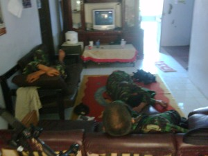 Soldiers ocuping our living room