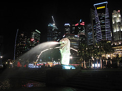 Merlion with Singapore Skyline in the back