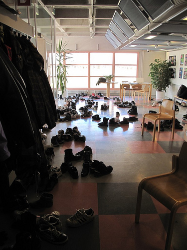In Finish schools you take off your shoes when entering the building, so we had many visitors and many shoes
