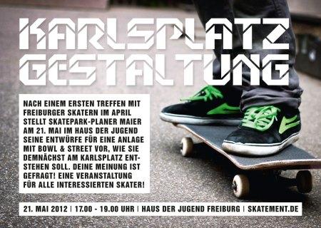 Am 21. Mai von 17.00 bis 19.00 Uhr stellt Skatepark-Planer Maier im Haus der Jugend seinen ersten Entwurf für Bowl & Street am Karlsplatz zur Diskussion.