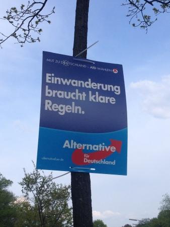 """""""Einwanderung braucht klare Regeln"""" AfD Plakat, Quelle: https://www.flickr.com/photos/83015819@N00/13941888122/"""