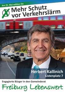 Quelle: Website Freiburg Lebenswert.  Herr Kallinicht setzt sich auch gegen Verkehrslärm ein. Flugzeuge seien ja nicht mehr so laut.