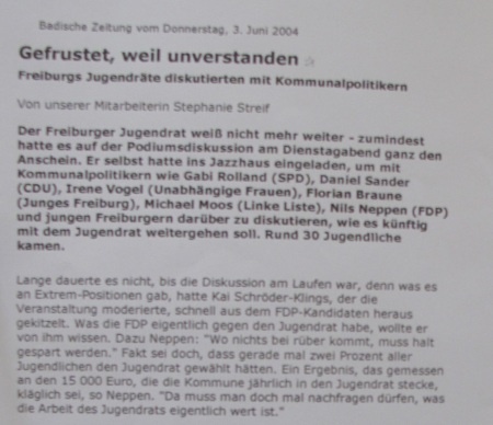 Badische Zeitung: 3.6.2004 Jugendrat diskutiert Quelle: Archiv Florian Braune