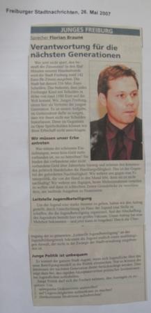 Haushaltsrede von Florian Baune 2007 Quelle: Archiv Florian Braune